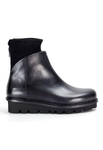 Shu Talk black Black Comfy Culf Leather Ankle Boots with Cuff SH397SH0GA23SG_1