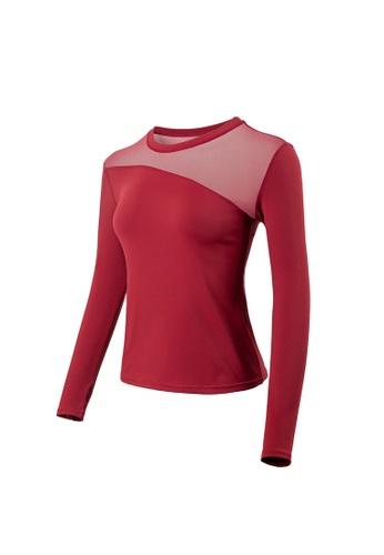 VIVIESTA SPORT red Mesh Panel Long Sleeve Gym Top 87AC3AA292BB35GS_1