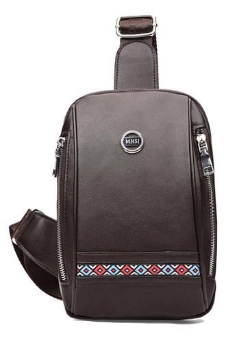 Vince brown Casual PU Leather Messenger Shoulder Bag ( Brown ) FL898AC26NRDMY_1