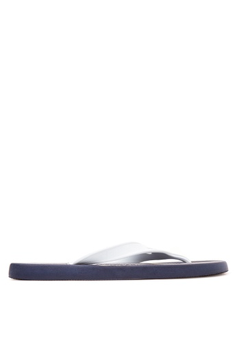 Dupe white and navy Aftersport Flip Flops DU626SH46KMVPH_1