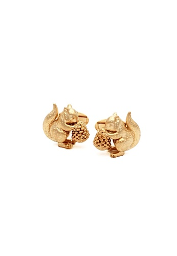 Red Stag And Hind gold Red Stag And Hind Matte Gold Squirrel Cufflinks 3722DAC1862E5AGS_1