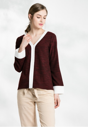 Les Premieres red Checker Patched V-neck Top 36B4CAAA4C9E63GS_1