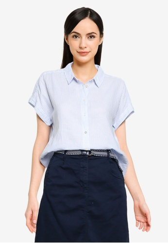 Springfield blue Curved Hem Shirt 97A07AA4EB92F8GS_1