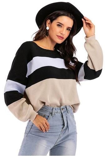 Twenty Eight Shoes brown VANSA  Colourblock Long Sleeve Knitted Sweater  VCW-Kw6215 6CAA0AAB26D192GS_1
