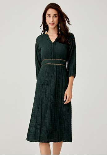 Love, Bonito green Mireia Jacquard Puff Sleeve Dress 8A65FAA5AC7194GS_1