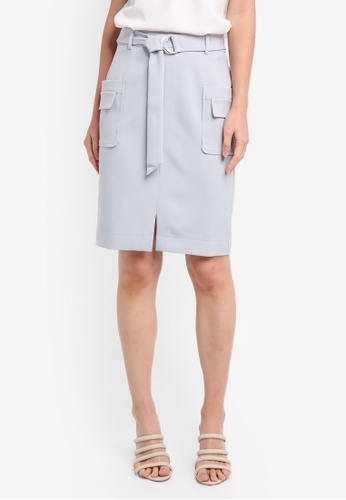ZALORA grey Flap Pockets Skirt EBB9DAACA28D68GS_1