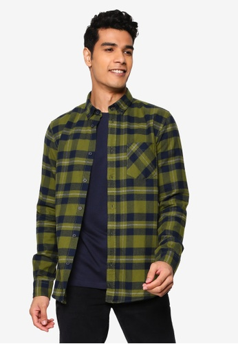 !Solid green Arvid Checked Shirt 91821AAD72D209GS_1