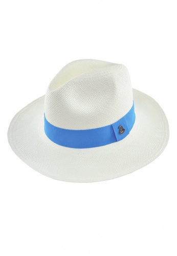 344bb32e70b ECUA-ANDINO white and blue Classic White Long Brim Panama Hat  33ADCAC48DB006GS 1