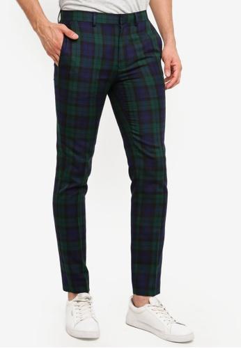066302ed5e4c Topman black Navy And Green Black Watch Tartan Trousers 67A46AA0DEF2B7GS 1