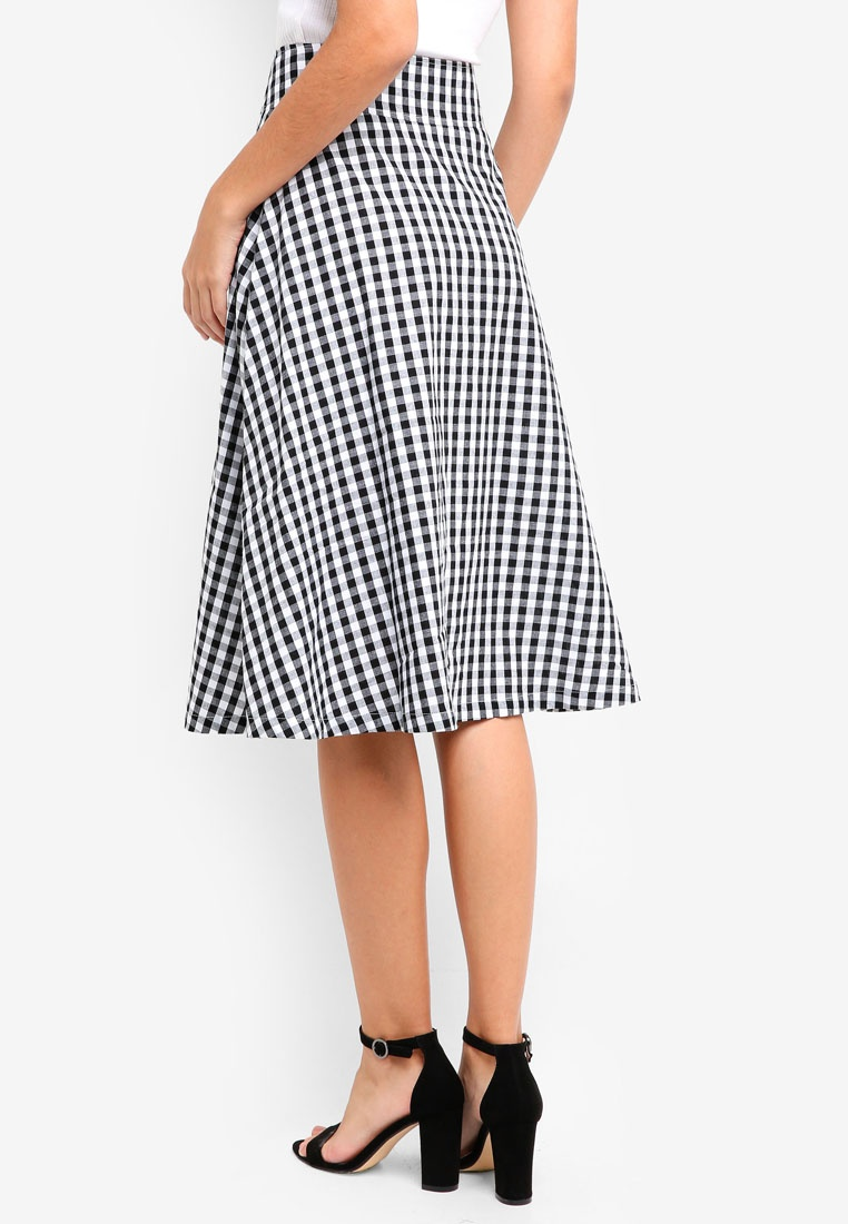 Midi Skirt ZALORA Gingham Black White Down Buttoned 7qwExZB