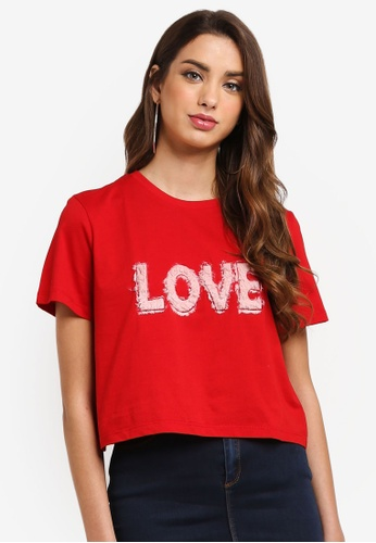MISSGUIDED red Furry Love Slogan Crop Top 40B20AAE4FA9A6GS_1