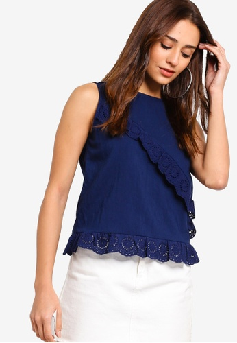 ZALORA navy Ruffled Sleeveless Blouse 920B5AA910FBF1GS_1