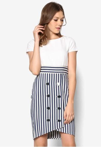 排鈕條紋拼接連身裙, 服飾esprit 價位, 正式洋裝