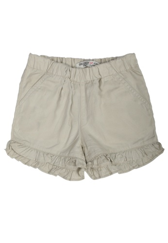 Grizzly brown Grizzly Kids Twill Ruffled Hem Shorts 144ACKA081235EGS_1