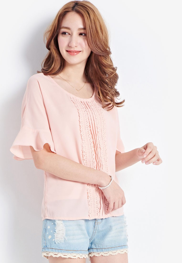 Lace Trimmed Pleated Blouse