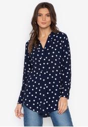 MARKS & SPENCER navy Spotted Longline Long Sleeve Shirt 4195BAA78C802EGS_1