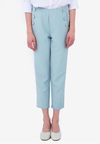 Kodz blue Waisted Capri with Buttons 8878BAA248191CGS_1