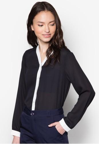 Brianna 撞zalora 衣服評價色門襟長袖上衣, 服飾, 上衣