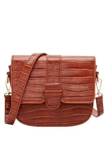 Swiss Polo brown Classic Crocodile Sling Bag 83857AC52DDAFDGS_1