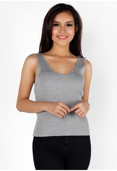 Scallop Pattern Ribbed Sleeveless Top