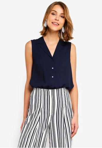 f65f001a08374 Buy WAREHOUSE Sleeveless Lapel Shirt Online on ZALORA Singapore
