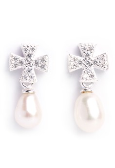 Kynda Cross Pearl K2757 Italy 925 Silver Earrings