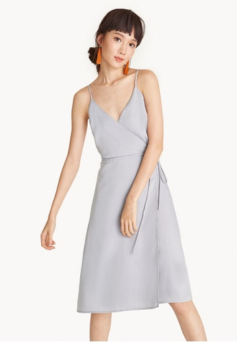 Pomelo grey Midi Cami Satin Wrap Dress BEB0DAA67612AAGS_1