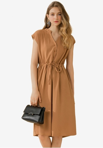 Eyescream brown V-Neck Button Down Shirt Dress C0EEAAA437FB07GS_1