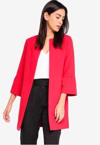 ZALORA red Frilled Cuff Coat 2FFD8AA4F9A005GS_1