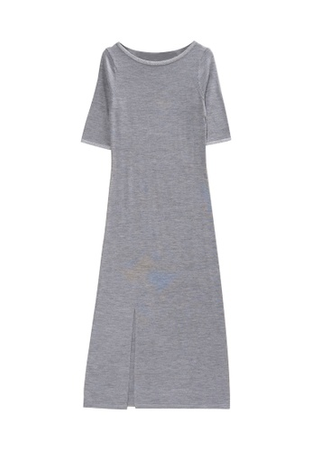 KLAPS grey Midi Dress with Side Slit 1BF30AA089427FGS_1