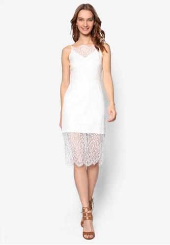 雙層蕾絲無袖連身裙,esprit官網 服飾, 洋裝