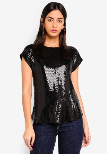 d94acc0bbbdba5 Buy Dorothy Perkins Black Sequin Top Online on ZALORA Singapore