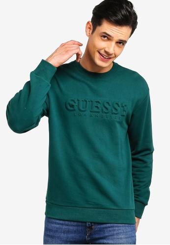 Guess 綠色 LOGO壓紋印花棉T 1EC05AA3A586EEGS_1