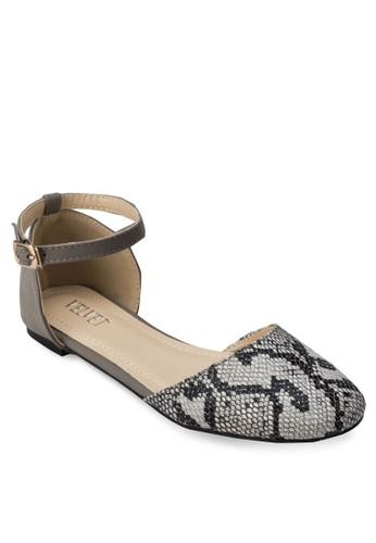 Sarah 蛇紋踝帶平zalora 泳衣底鞋, 女鞋, 鞋