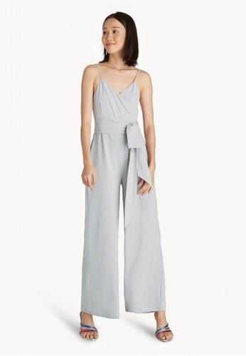 6340a4cb6671 Pomelo grey Strappy Bow Tie Waist Jumpsuit - Light Grey 48812AA8043F78GS 1