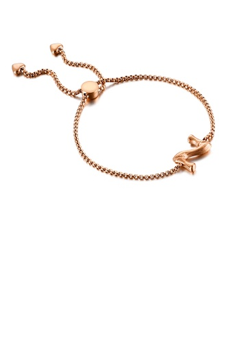 Glamorousky silver Simple Fashion Plated Rose Gold English Alphabet Z 316L Stainless Steel Bracelet 32CF4AC4AC46C2GS_1