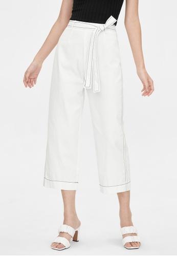 Pomelo white Contrast Stitch Culotte Pants - White 59471AA972C449GS_1