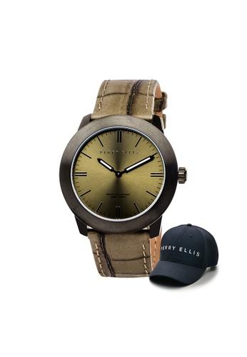 Perry Ellis brown Perry Ellis Slim Line Unisex 42mm Quartz Watch 07006-01 with Perry Ellis Cap E09D1ACEF5AB98GS_1