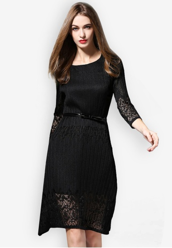 Sunnydaysweety black Hollow Sleeve Pleated One Piece Dress A102060BK 5B62BAA1448951GS_1
