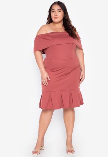 Off-Shoudler Drop Down Plus Size Dress