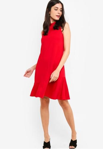ZALORA 橘色 Asymmetric Flare Hem Dress 6F890AAAB6A17DGS_1