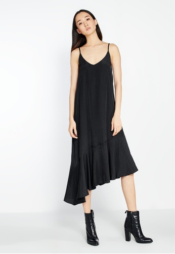 Pomelo black Malia Ruffle Hem Slip Dress - Black 34C89AA6DAEE56GS_1