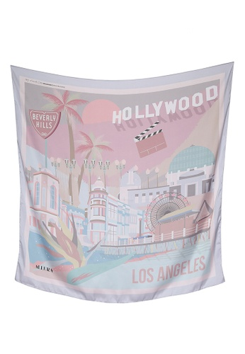 Modest-Runway Inc. pink and multi ALLURA My Favorite City Los Angeles SILK Scarf/Hijab 9C8CEAA18015EAGS_1