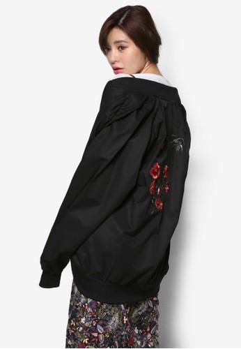 韓系時尚刺繡玫瑰長版外套, 服飾, 夾克 &azalora鞋mp; 大衣