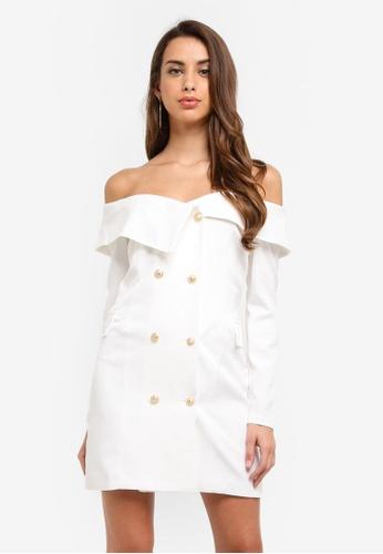MISSGUIDED white Bardot Blazer Dress D390DAAA75CCC2GS_1