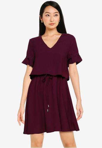 ZALORA BASICS purple V Neck Layered Dress 4B6EDAA6F683CEGS_1