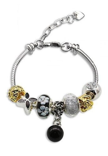 Her Jewellery black and silver Her Jewellery Pearl Charm Bracelet (Black) HE581AC0RB19MY_1