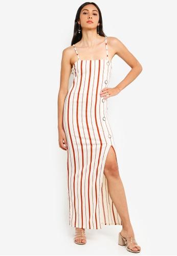 River Island orange and multi Stripe Button Slip Dress ACAD9AA015284AGS_1