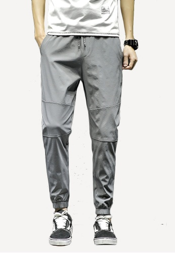 hk-ehunter grey Men's Mid-waist Casual Pants 484A5AAFCD660DGS_1