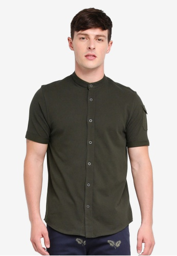 Brave Soul green Mandarin Collar Short Sleeve Shirt 059E9AA924ED1AGS_1